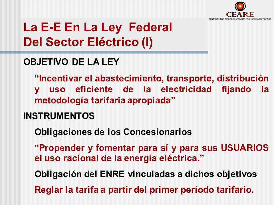 OBJETIVO DE LA LEY Incentivar el abastecimiento, transporte, distribución y uso eficiente de la electricidad fijando la metodología tarifaria apropiada INSTRUMENTOS Obligaciones de los Concesionarios Propender y fomentar para sí y para sus USUARIOS el uso racional de la energía eléctrica.