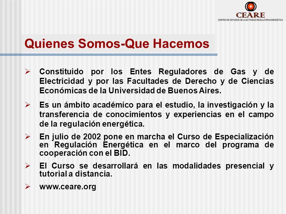 Constituido por los Entes Reguladores de Gas y de Electricidad y por las Facultades de Derecho y de Ciencias Económicas de la Universidad de Buenos Aires.