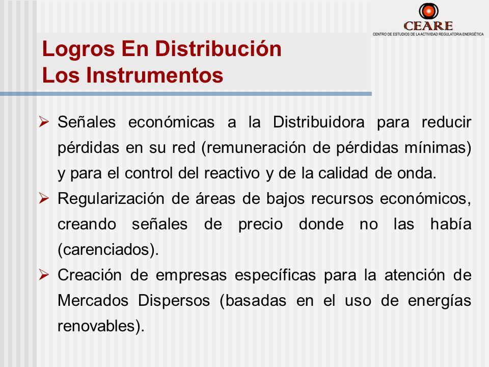 Señales económicas a la Distribuidora para reducir pérdidas en su red (remuneración de pérdidas mínimas) y para el control del reactivo y de la calidad de onda.