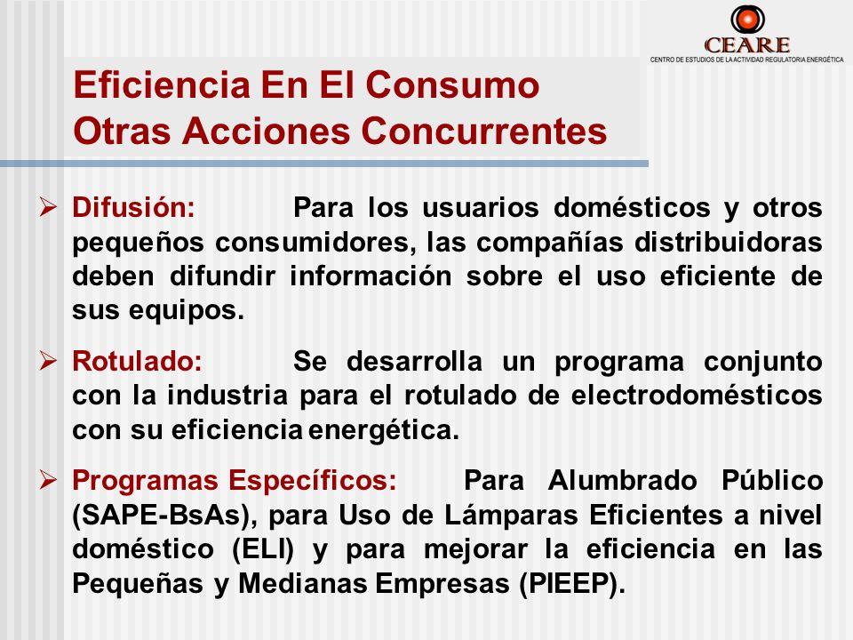 Difusión:Para los usuarios domésticos y otros pequeños consumidores, las compañías distribuidoras deben difundir información sobre el uso eficiente de sus equipos.