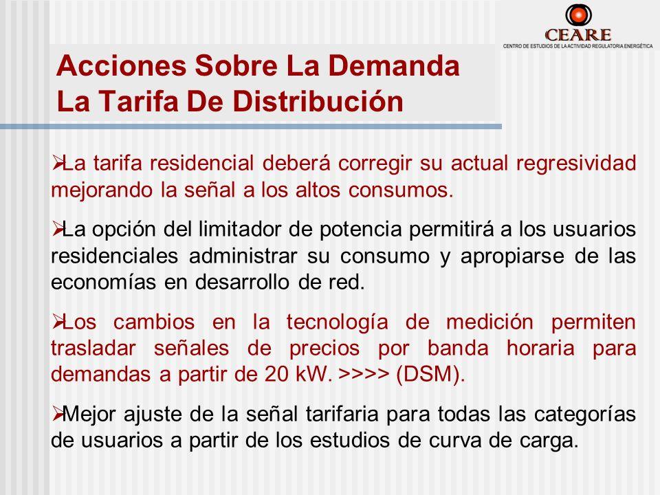 Acciones Sobre La Demanda La Tarifa De Distribución La tarifa residencial deberá corregir su actual regresividad mejorando la señal a los altos consumos.