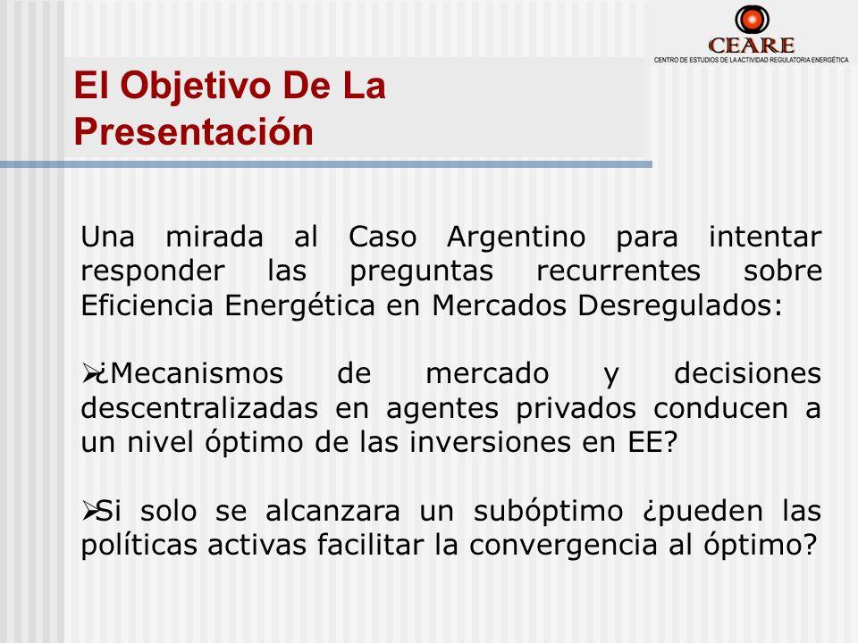 Una mirada al Caso Argentino para intentar responder las preguntas recurrentes sobre Eficiencia Energética en Mercados Desregulados: ¿Mecanismos de mercado y decisiones descentralizadas en agentes privados conducen a un nivel óptimo de las inversiones en EE.