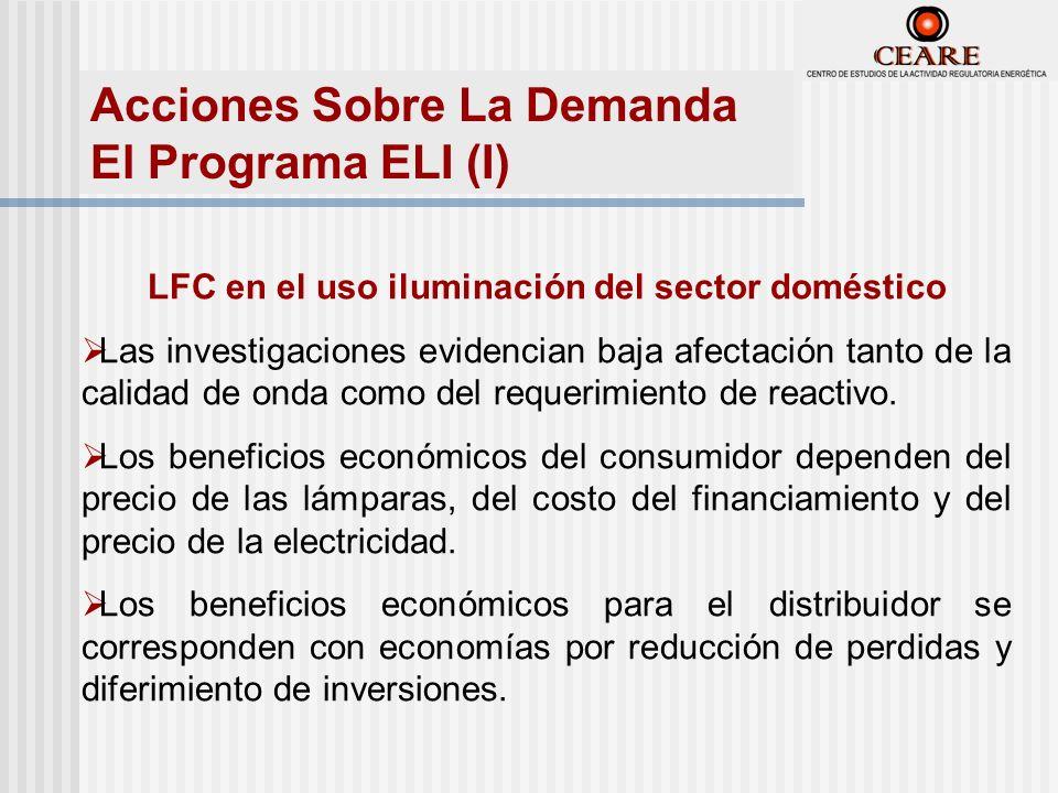 Acciones Sobre La Demanda El Programa ELI (I) LFC en el uso iluminación del sector doméstico Las investigaciones evidencian baja afectación tanto de la calidad de onda como del requerimiento de reactivo.