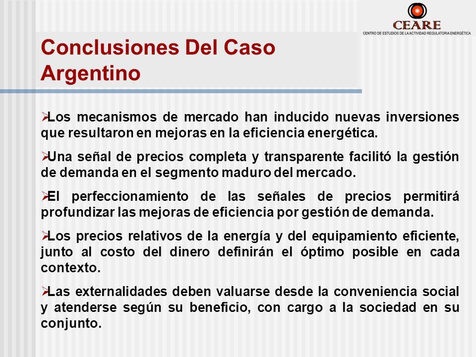 Conclusiones Del Caso Argentino Los mecanismos de mercado han inducido nuevas inversiones que resultaron en mejoras en la eficiencia energética.
