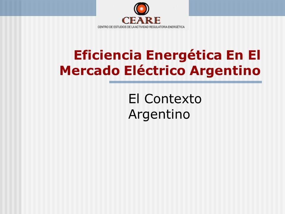 En Argentina, la adopción de mecanismos de mercado, en el marco regulatorio eléctrico, induce la asignación de recursos y las señales de racionamiento a través del sistema de precios.