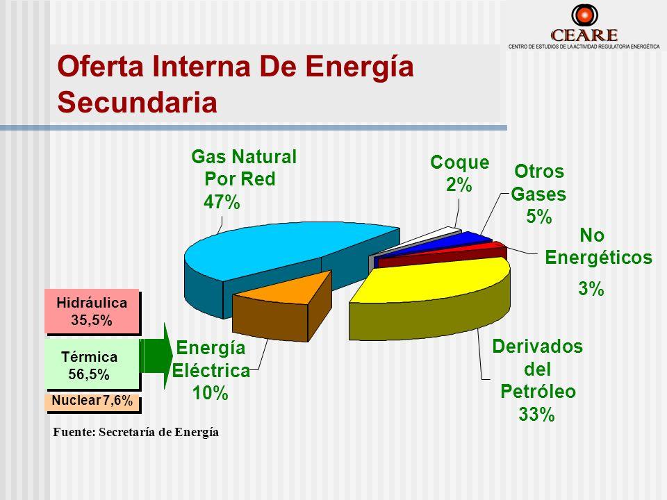 Derivados del Petróleo 33% Energía Eléctrica 10% Gas Natural Por Red 47% Coque 2% No Energéticos 3% Otros Gases 5% Hidráulica 35,5% Hidráulica 35,5% Térmica 56,5% Nuclear 7,6% Fuente: Secretaría de Energía Oferta Interna De Energía Secundaria