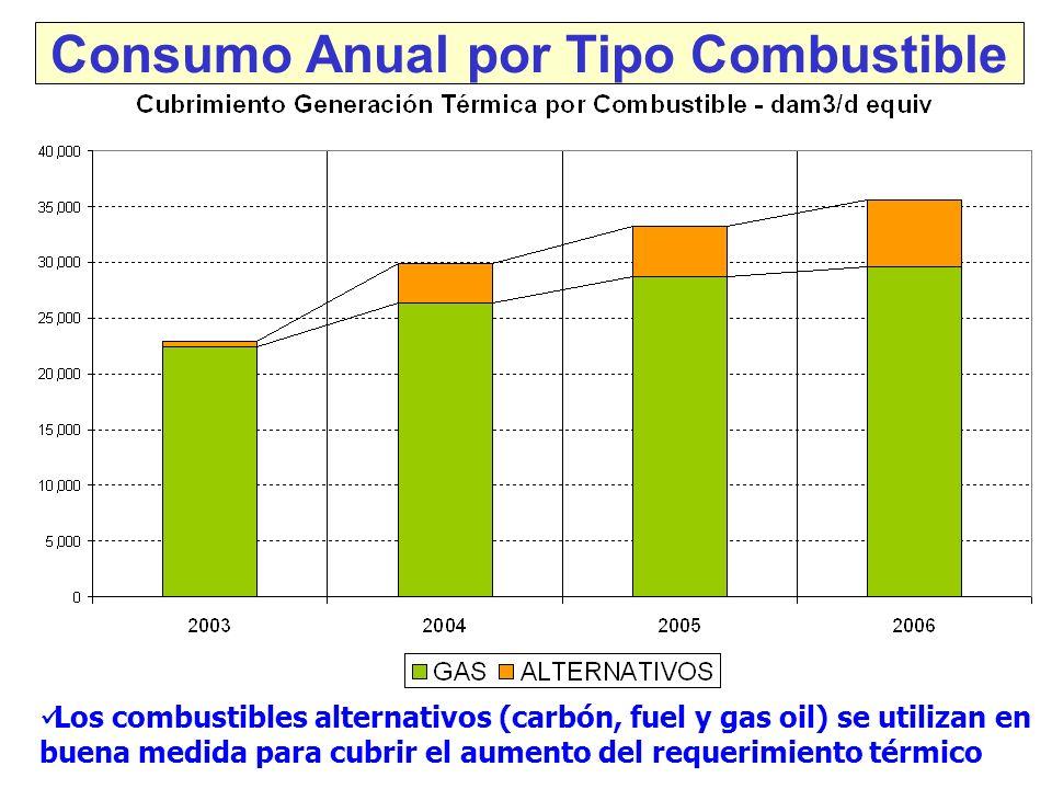 Consumo Anual por Tipo Combustible Los combustibles alternativos (carbón, fuel y gas oil) se utilizan en buena medida para cubrir el aumento del requerimiento térmico