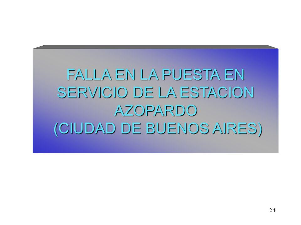 24 FALLA EN LA PUESTA EN SERVICIO DE LA ESTACION AZOPARDO (CIUDAD DE BUENOS AIRES)