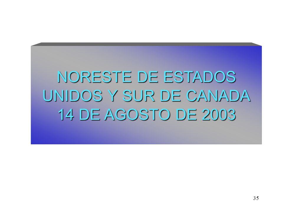 35 NORESTE DE ESTADOS UNIDOS Y SUR DE CANADA 14 DE AGOSTO DE 2003