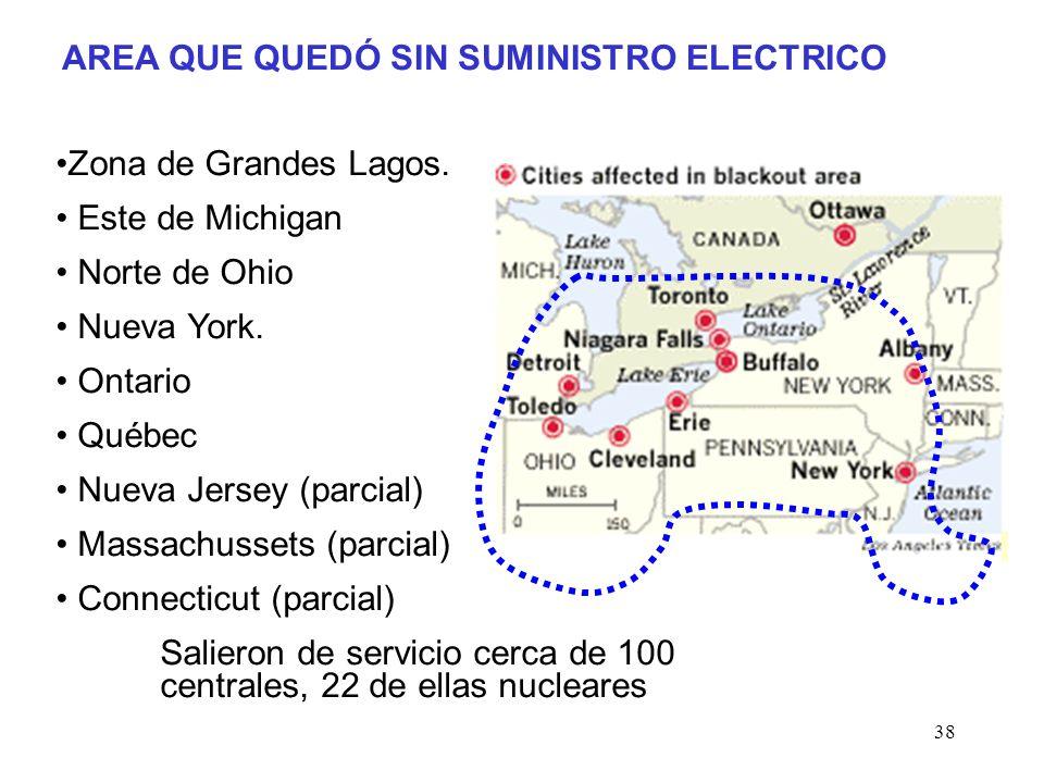 38 AREA QUE QUEDÓ SIN SUMINISTRO ELECTRICO Zona de Grandes Lagos.