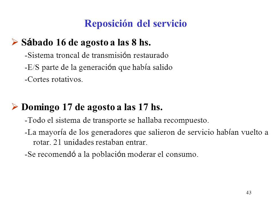 43 Reposición del servicio S á bado 16 de agosto a las 8 hs.