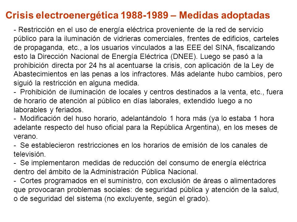 Crisis electroenergética 1988-1989 – Medidas adoptadas - Restricción en el uso de energía eléctrica proveniente de la red de servicio público para la iluminación de vidrieras comerciales, frentes de edificios, carteles de propaganda, etc., a los usuarios vinculados a las EEE del SINA, fiscalizando esto la Dirección Nacional de Energía Eléctrica (DNEE).
