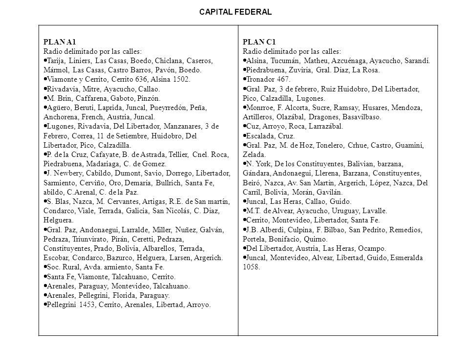 CAPITAL FEDERAL PLAN A1 Radio delimitado por las calles: Tarija, Liniers, Las Casas, Boedo, Chiclana, Caseros, Mármol, Las Casas, Castro Barros, Pavón, Boedo.