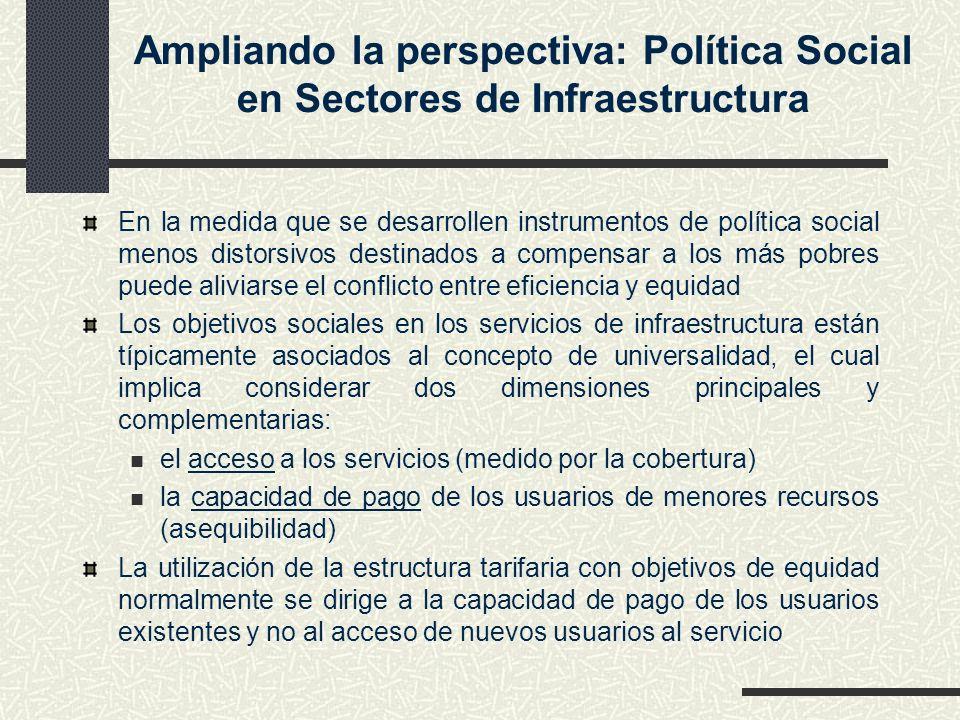 Ampliando la perspectiva: Política Social en Sectores de Infraestructura En la medida que se desarrollen instrumentos de política social menos distors
