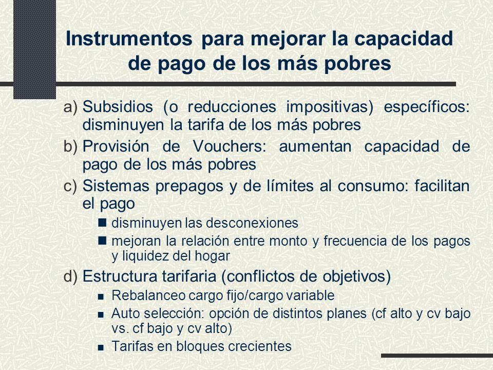 Instrumentos para mejorar la capacidad de pago de los más pobres a)Subsidios (o reducciones impositivas) específicos: disminuyen la tarifa de los más