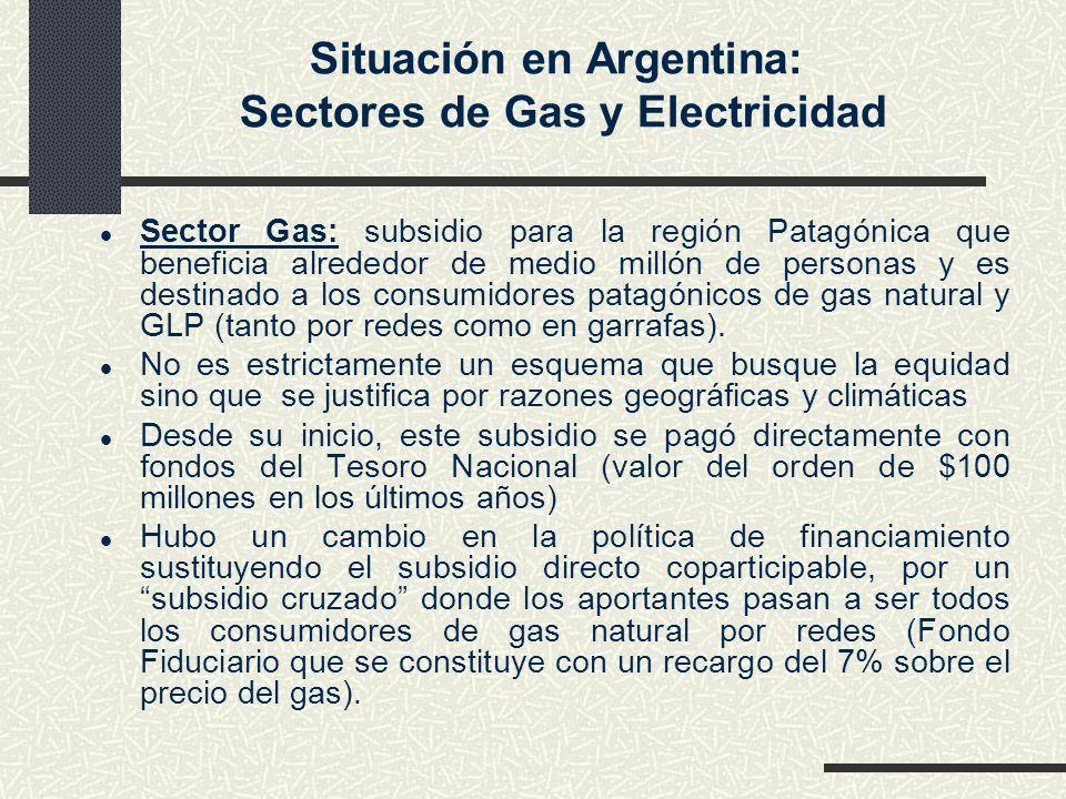 Situación en Argentina: Sectores de Gas y Electricidad l Sector Gas: subsidio para la región Patagónica que beneficia alrededor de medio millón de per