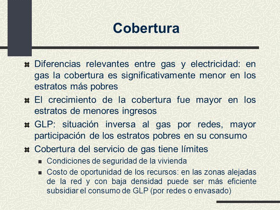 Diferencias relevantes entre gas y electricidad: en gas la cobertura es significativamente menor en los estratos más pobres El crecimiento de la cober