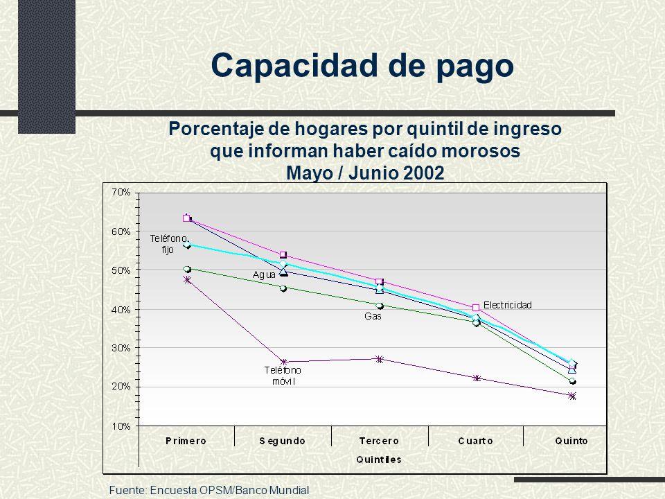 Capacidad de pago Porcentaje de hogares por quintil de ingreso que informan haber caído morosos Mayo / Junio 2002 Fuente: Encuesta OPSM/Banco Mundial
