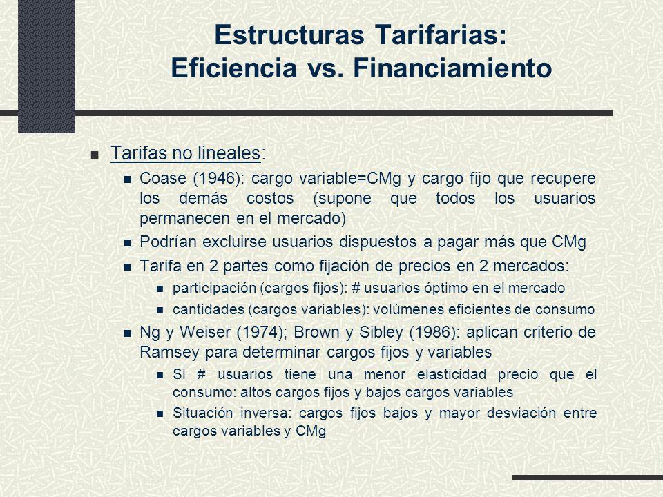 Estructuras Tarifarias: Eficiencia vs. Financiamiento Tarifas no lineales: Coase (1946): cargo variable=CMg y cargo fijo que recupere los demás costos