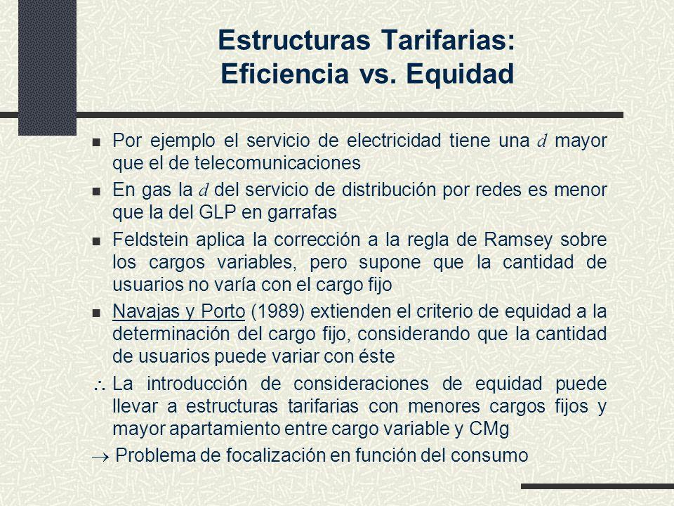 Estructuras Tarifarias: Eficiencia vs. Equidad Por ejemplo el servicio de electricidad tiene una d mayor que el de telecomunicaciones En gas la d del