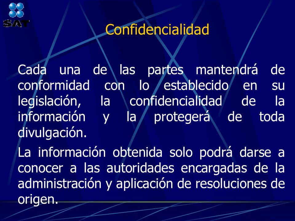 Cada una de las partes mantendrá de conformidad con lo establecido en su legislación, la confidencialidad de la información y la protegerá de toda div