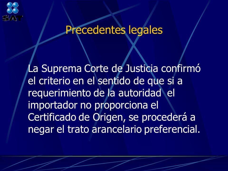 Precedentes legales La Suprema Corte de Justicia confirmó el criterio en el sentido de que si a requerimiento de la autoridad el importador no proporc