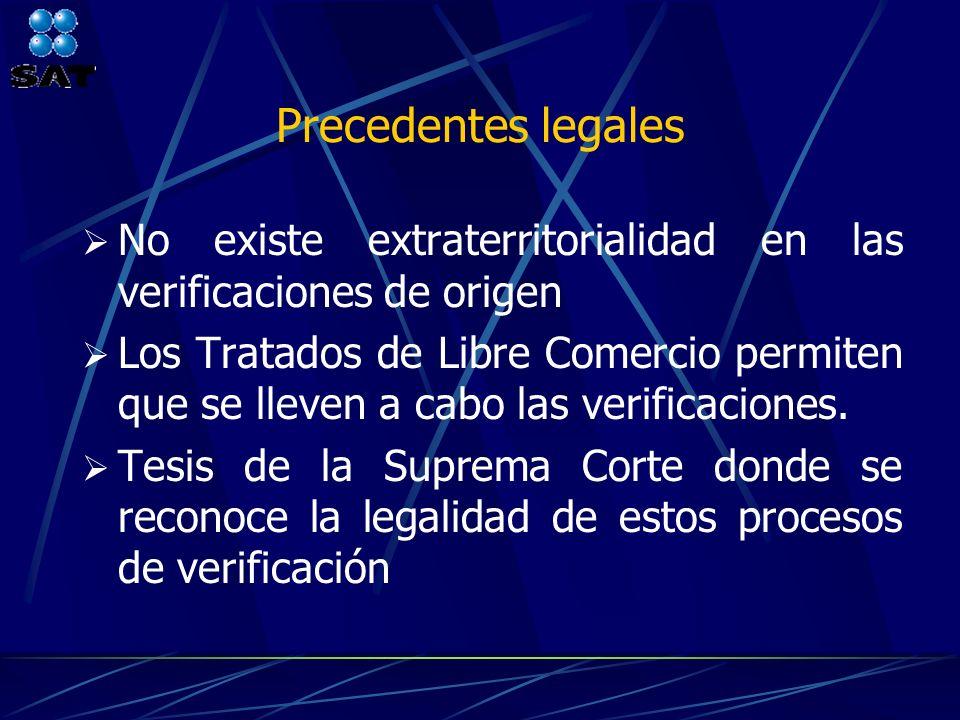 Precedentes legales No existe extraterritorialidad en las verificaciones de origen Los Tratados de Libre Comercio permiten que se lleven a cabo las ve