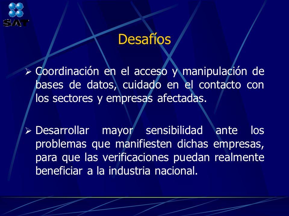 Desafíos Coordinación en el acceso y manipulación de bases de datos, cuidado en el contacto con los sectores y empresas afectadas. Desarrollar mayor s