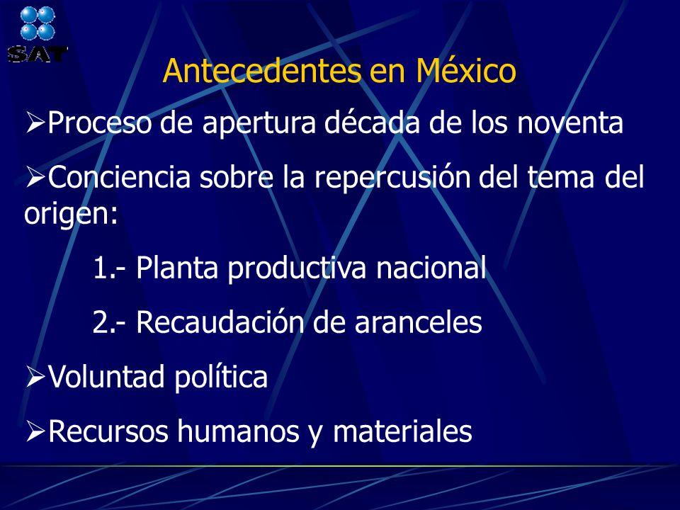 Antecedentes en México Proceso de apertura década de los noventa Conciencia sobre la repercusión del tema del origen: 1.- Planta productiva nacional 2