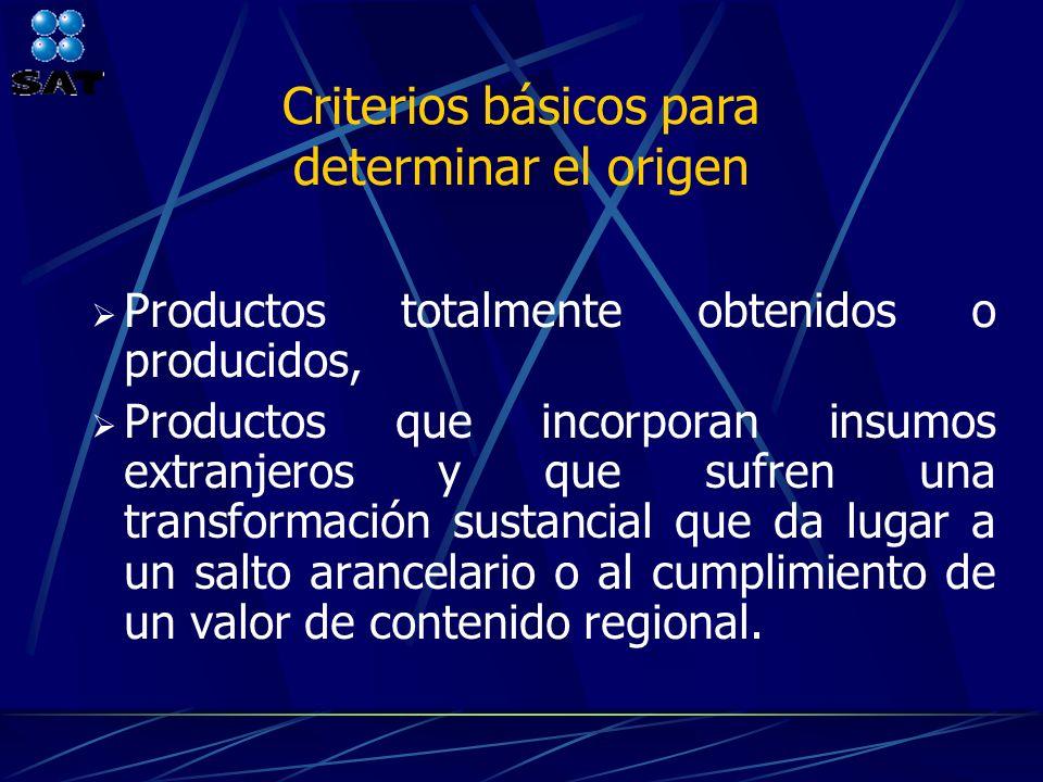 Criterios básicos para determinar el origen Productos totalmente obtenidos o producidos, Productos que incorporan insumos extranjeros y que sufren una