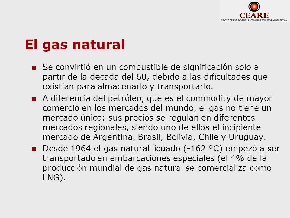 El gas natural Se convirtió en un combustible de significación solo a partir de la decada del 60, debido a las dificultades que existían para almacena