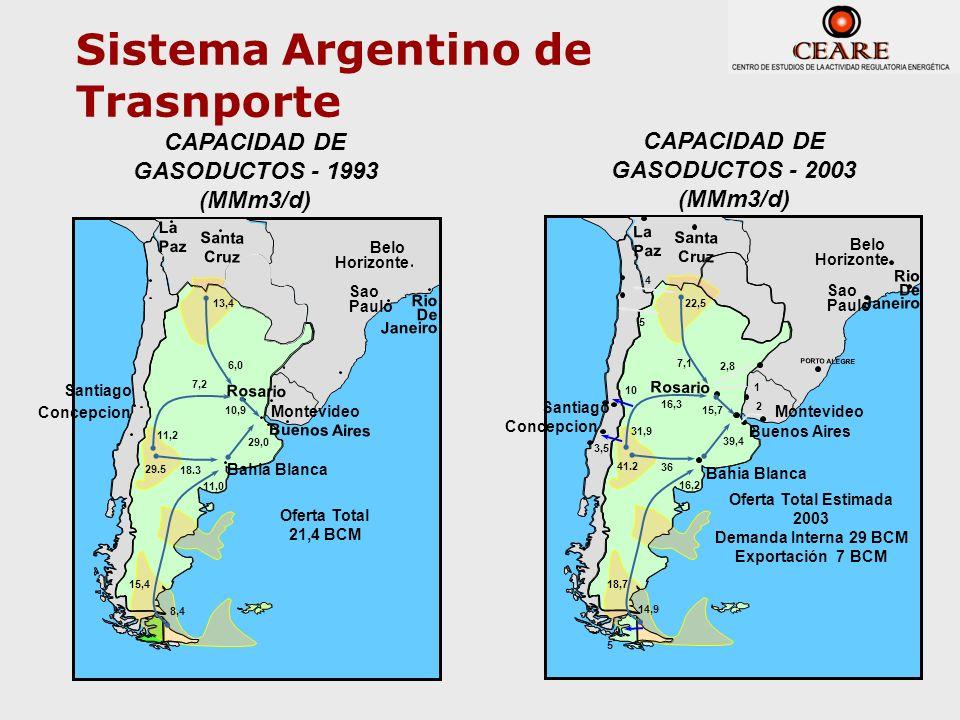 Porto Alegre Montevideo Rio De Janeiro Rosario Belo Horizonte Sao Paulo CAPACIDAD DE GASODUCTOS - 1993 (MMm3/d) 11,0 29,0 6,0 10,9 Oferta Total 21,4 B