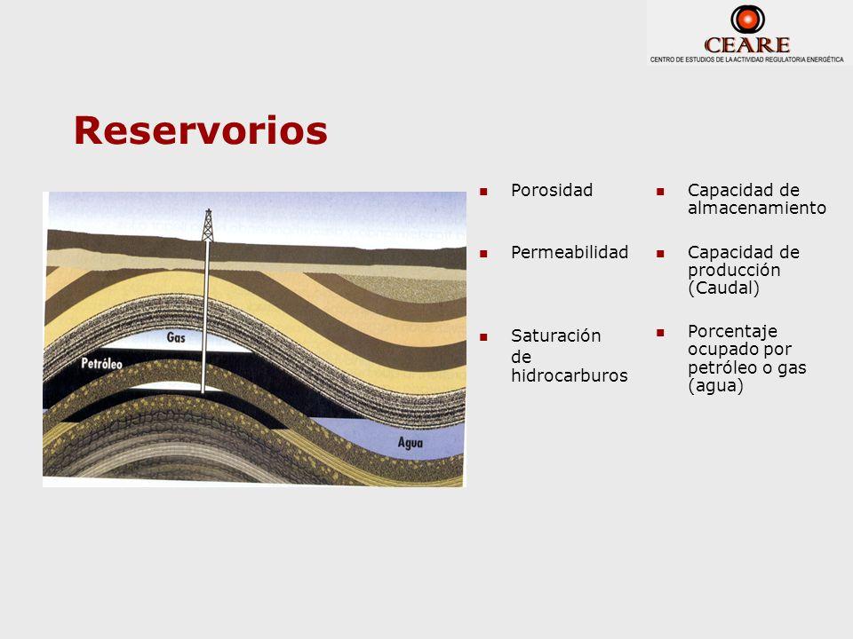 Reservorios Porosidad Permeabilidad Saturación de hidrocarburos Capacidad de almacenamiento Capacidad de producción (Caudal) Porcentaje ocupado por pe