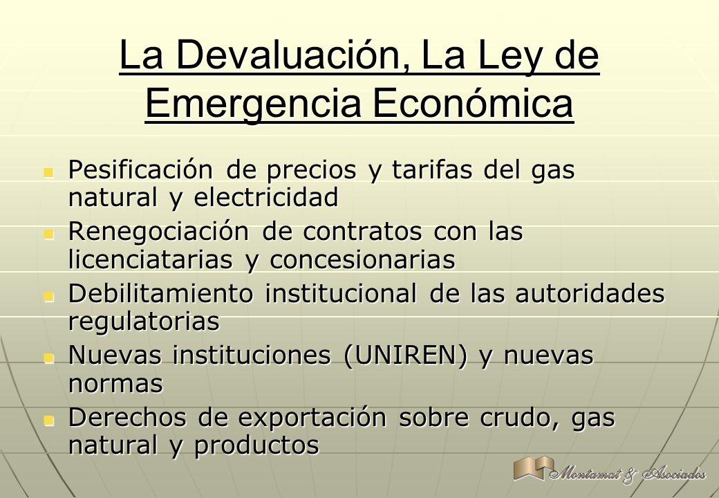 La Devaluación, La Ley de Emergencia Económica Pesificación de precios y tarifas del gas natural y electricidad Pesificación de precios y tarifas del