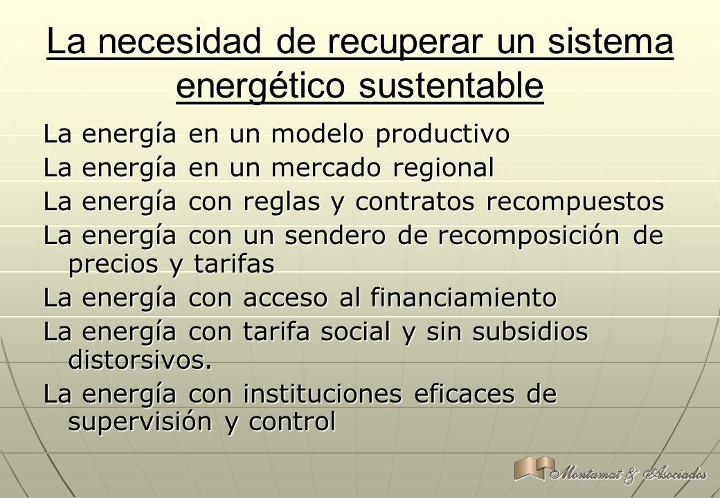 La necesidad de recuperar un sistema energético sustentable La energía en un modelo productivo La energía en un mercado regional La energía con reglas