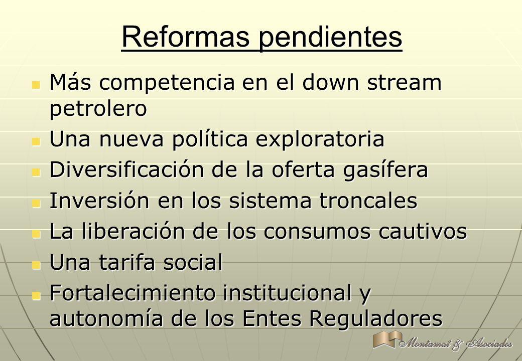 Reformas pendientes Más competencia en el down stream petrolero Más competencia en el down stream petrolero Una nueva política exploratoria Una nueva