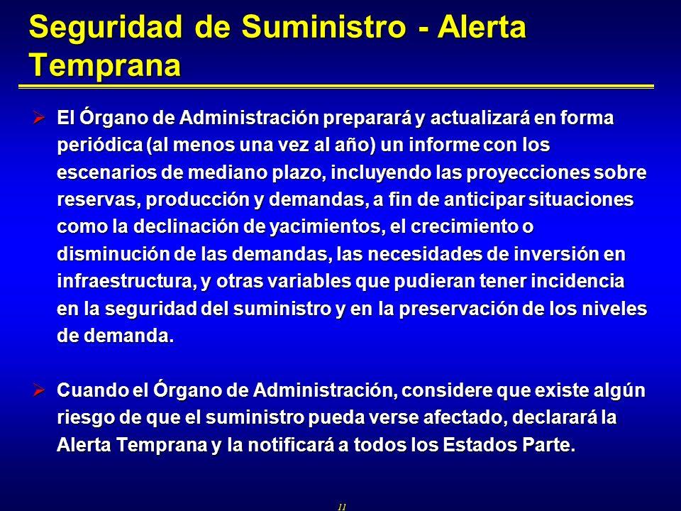 11 Seguridad de Suministro - Alerta Temprana El Órgano de Administración preparará y actualizará en forma periódica (al menos una vez al año) un infor
