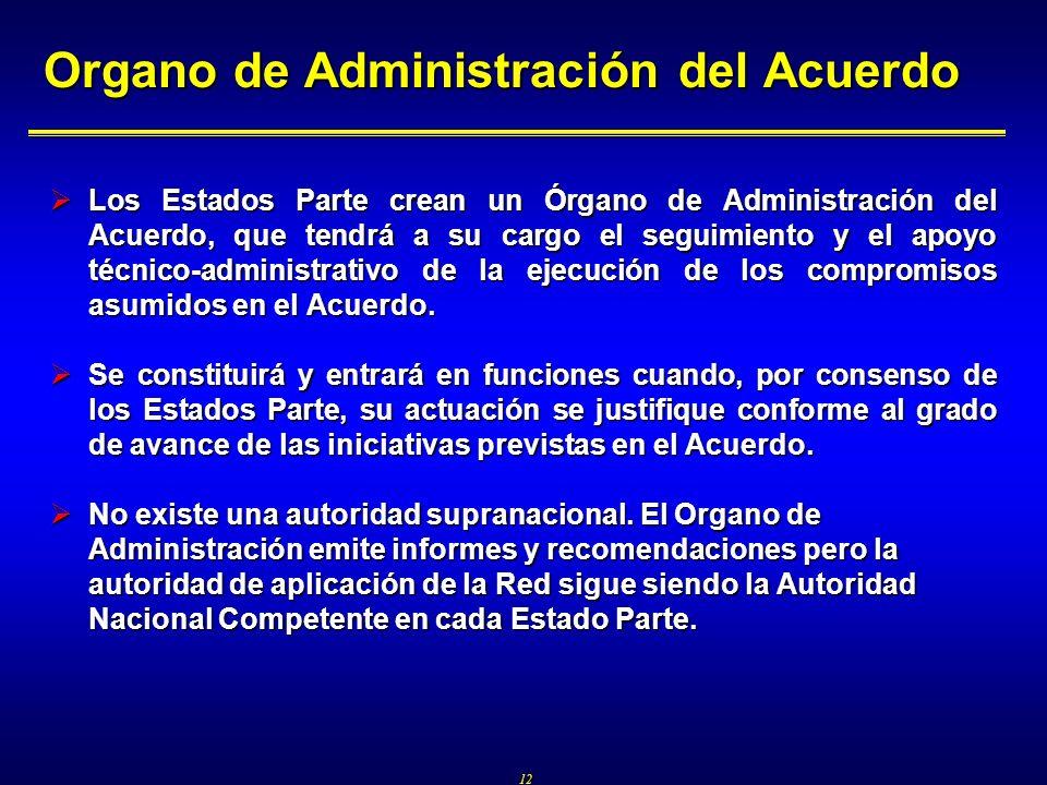 12 Organo de Administración del Acuerdo Los Estados Parte crean un Órgano de Administración del Acuerdo, que tendrá a su cargo el seguimiento y el apoyo técnico-administrativo de la ejecución de los compromisos asumidos en el Acuerdo.