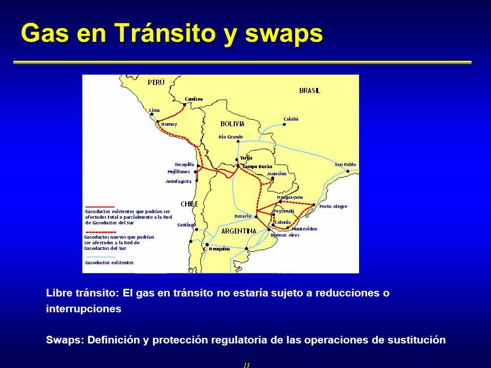 13 Gas en Tránsito y swaps Libre tránsito: El gas en tránsito no estaría sujeto a reducciones o interrupciones Swaps: Definición y protección regulato