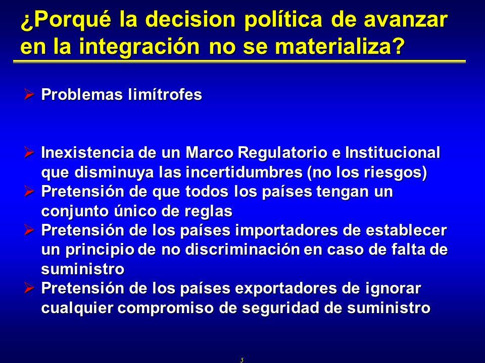 5 ¿Porqué la decision política de avanzar en la integración no se materializa? Problemas limítrofes Problemas limítrofes Inexistencia de un Marco Regu