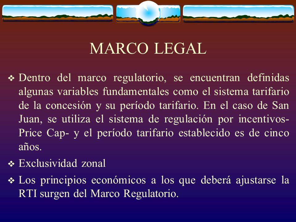 MARCO LEGAL Dentro del marco regulatorio, se encuentran definidas algunas variables fundamentales como el sistema tarifario de la concesión y su período tarifario.