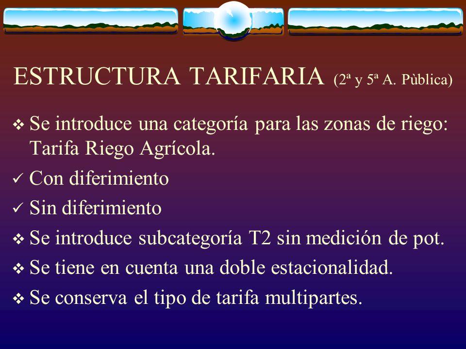ESTRUCTURA TARIFARIA (2ª y 5ª A.