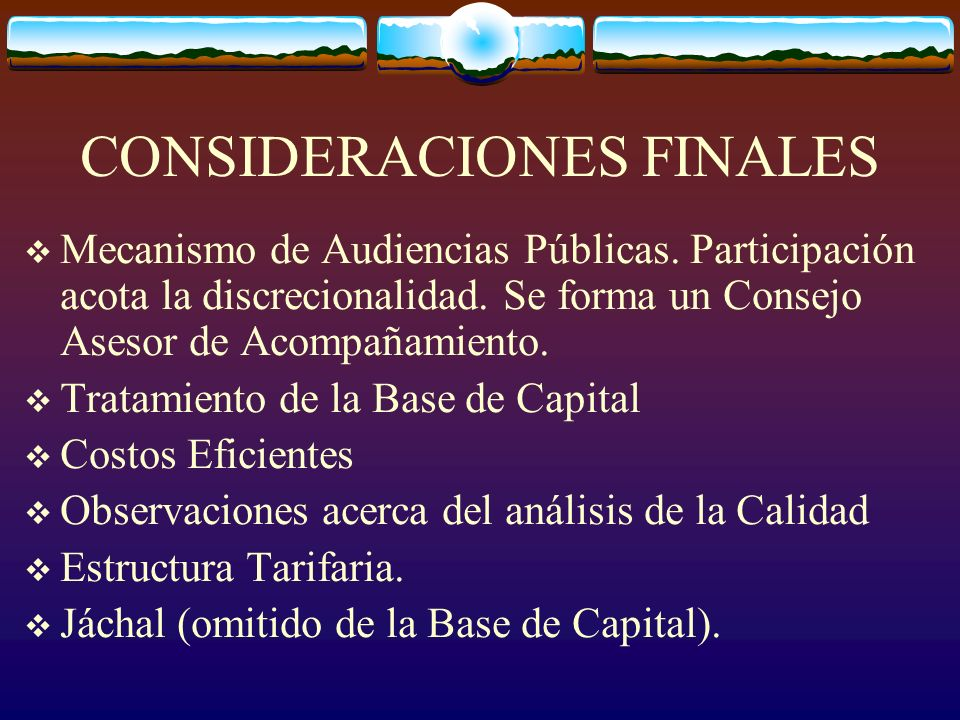 CONSIDERACIONES FINALES Mecanismo de Audiencias Públicas.