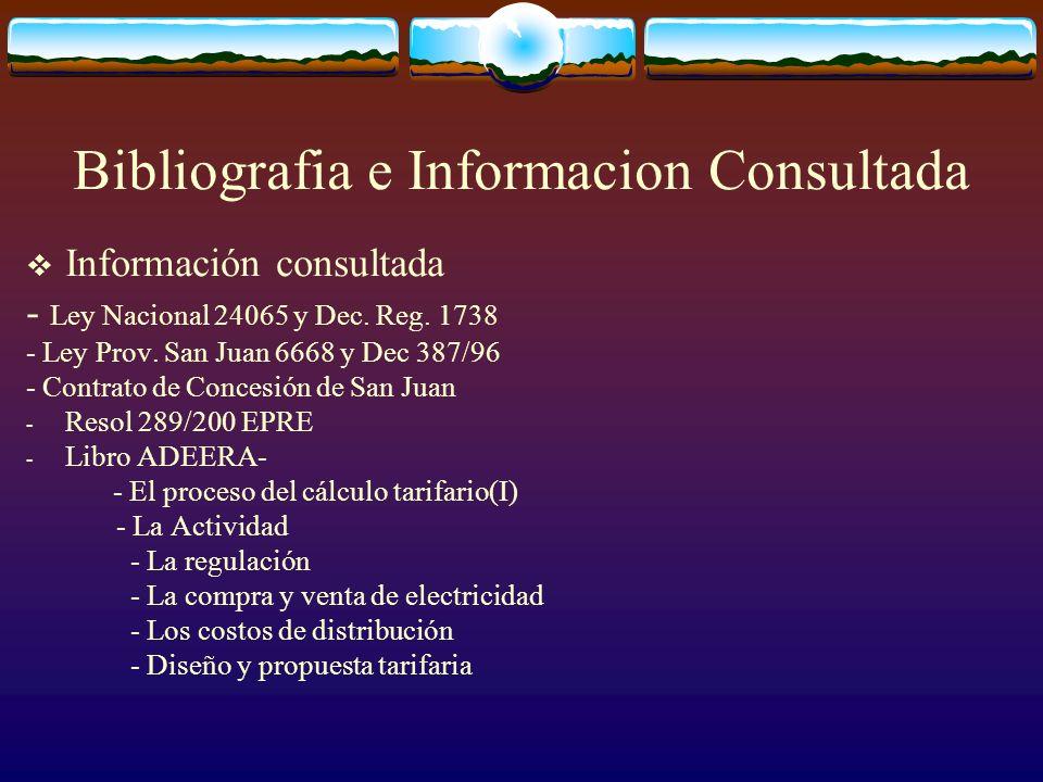 Bibliografia e Informacion Consultada Información consultada - Ley Nacional 24065 y Dec.