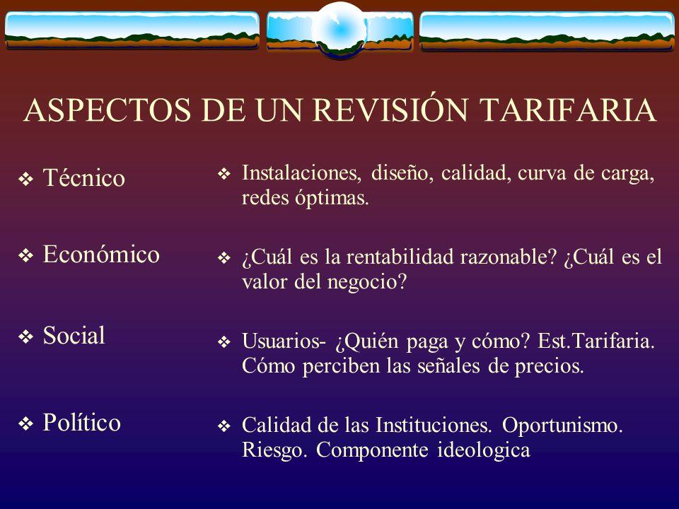 ASPECTOS DE UN REVISIÓN TARIFARIA Técnico Económico Social Político Instalaciones, diseño, calidad, curva de carga, redes óptimas.