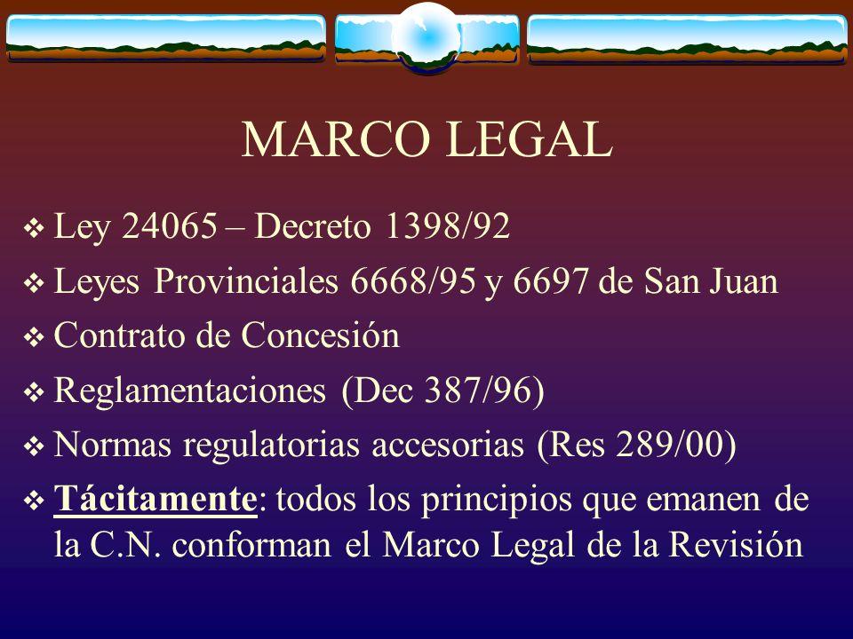 MARCO LEGAL Ley 24065 – Decreto 1398/92 Leyes Provinciales 6668/95 y 6697 de San Juan Contrato de Concesión Reglamentaciones (Dec 387/96) Normas regulatorias accesorias (Res 289/00) Tácitamente: todos los principios que emanen de la C.N.