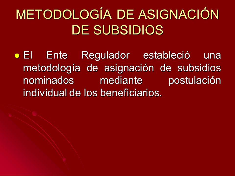METODOLOGÍA DE ASIGNACIÓN DE SUBSIDIOS El Ente Regulador estableció una metodología de asignación de subsidios nominados mediante postulación individual de los beneficiarios.