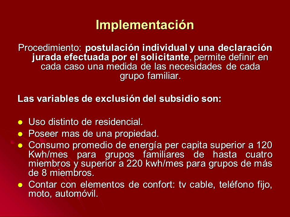 Implementación Procedimiento: postulación individual y una declaración jurada efectuada por el solicitante, permite definir en cada caso una medida de las necesidades de cada grupo familiar.
