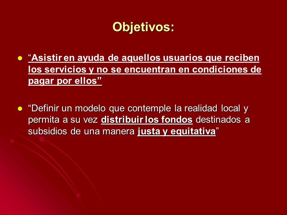 Objetivos: Asistir en ayuda de aquellos usuarios que reciben los servicios y no se encuentran en condiciones de pagar por ellos Definir un modelo que