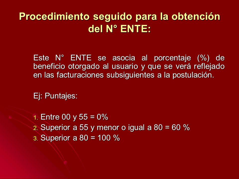 Procedimiento seguido para la obtención del N° ENTE: Este N° ENTE se asocia al porcentaje (%) de beneficio otorgado al usuario y que se verá reflejado